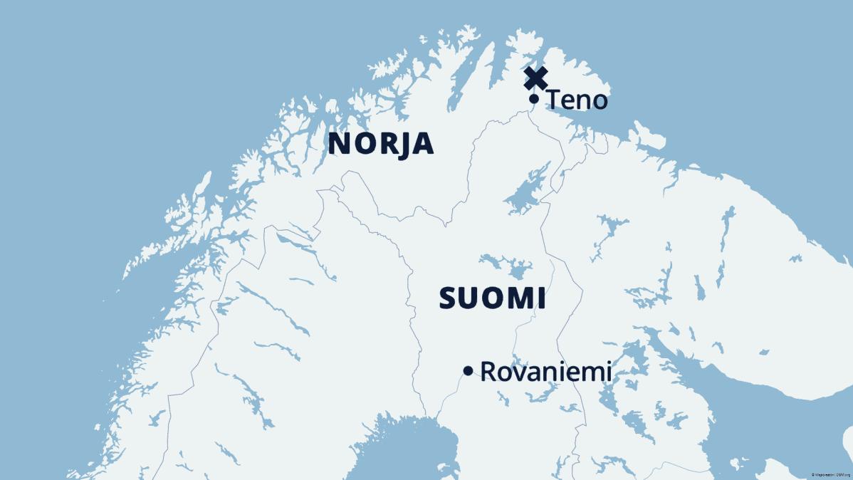 Kartta Pohjois-Suomesta ja Pohjois-Norjasta, johon on merkitty Rovaniemen ja Tenon sijainnit sekä rastilla maanvyörymän paikka.