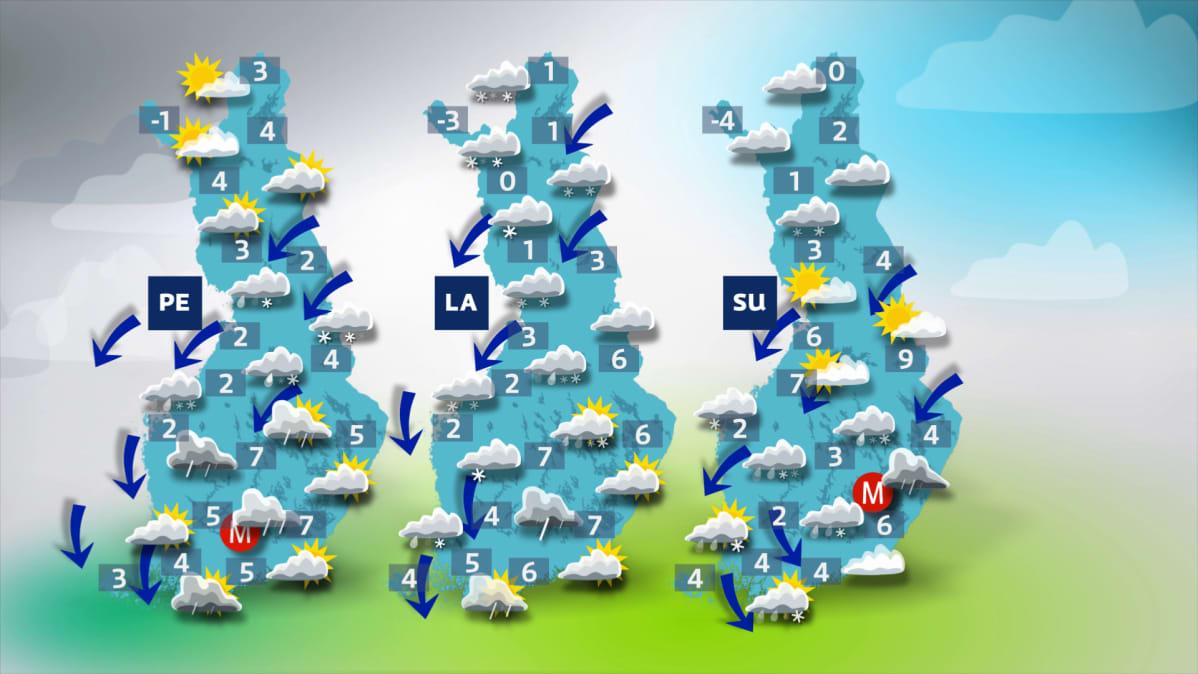 Sääkuva: Matalapaine tuo sateita suureen osaan Suomea