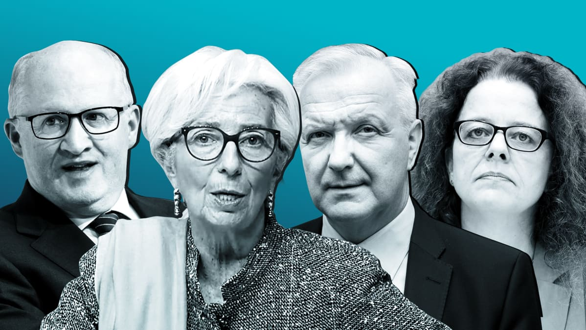 Philip Lane, EKP:n puheenjohtaja Christine Lagarde, Olli Rehn ja Isabel Schnabel