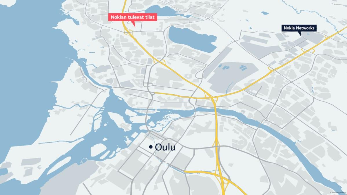 Kartta Nokian uudesta sijainnista Oulussa
