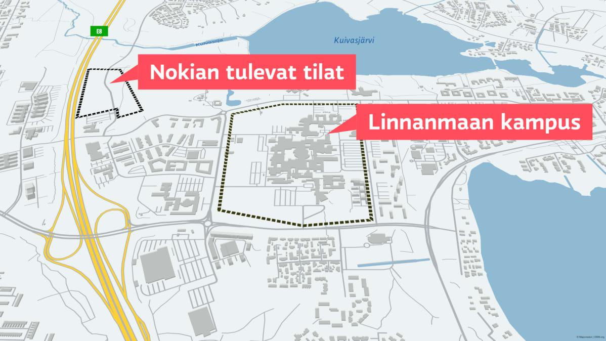 Kartta Nokian uusien toimitilojen sijainnista