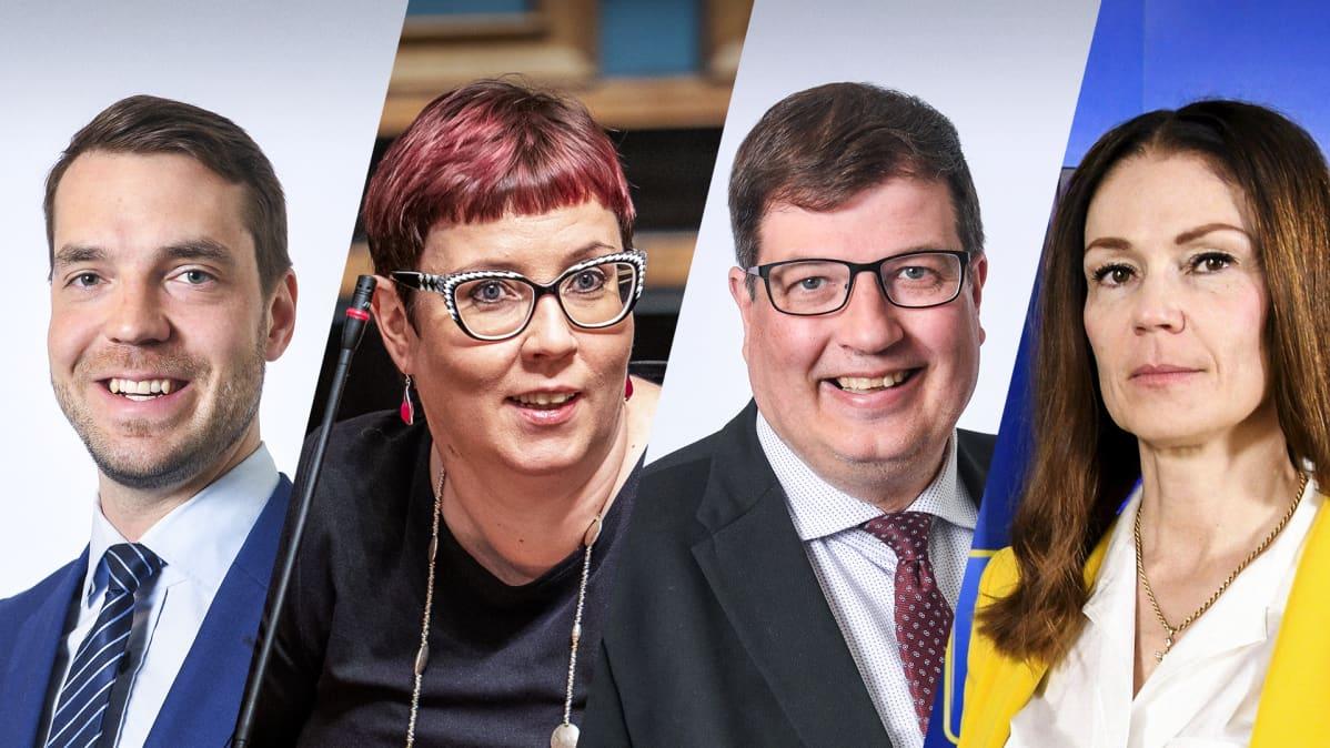 Jouni Ovaska (kesk.), Merja Kyllönen (vas.), Arto Satonen (kok.) ja Lulu Ranne (ps.)