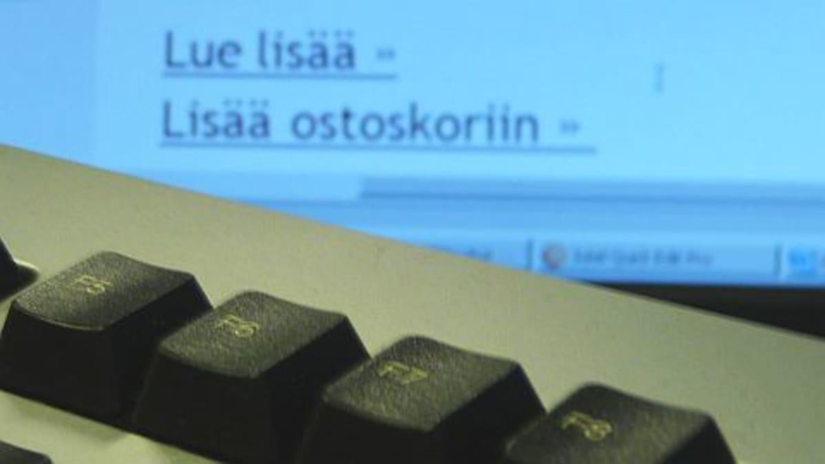 Tietokone ja verkkokaupan nettisivu