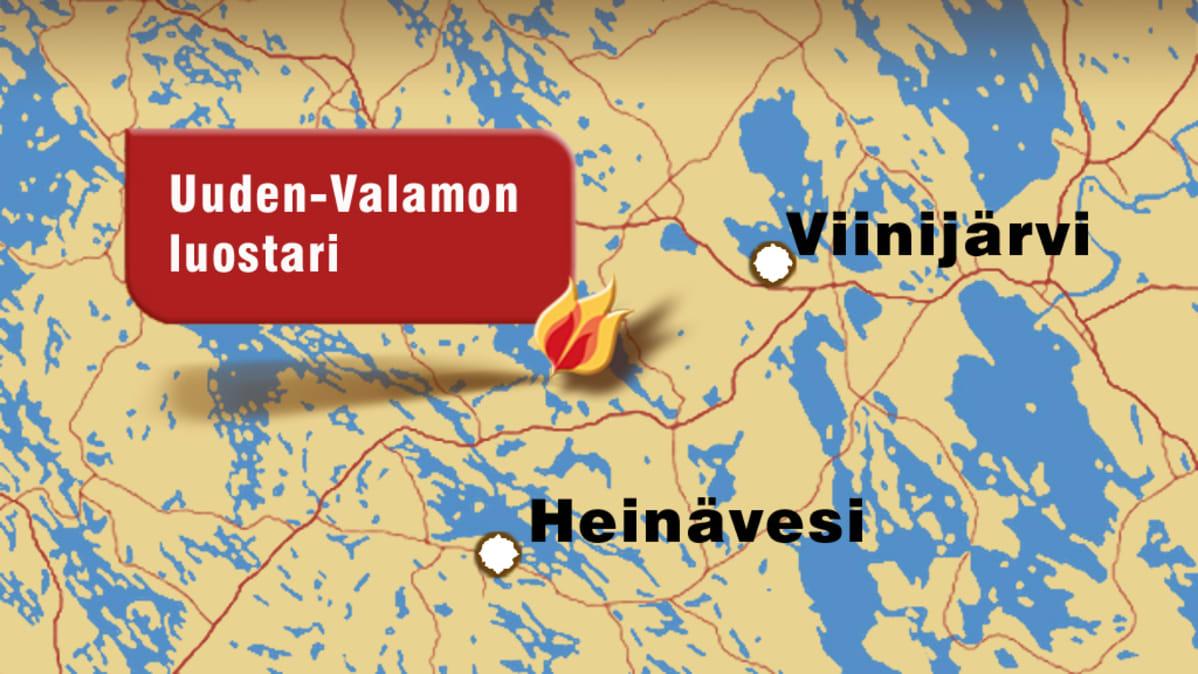 Kartta, johon merkitty Valamon luostari, Viinijärvi ja Heinävesi.