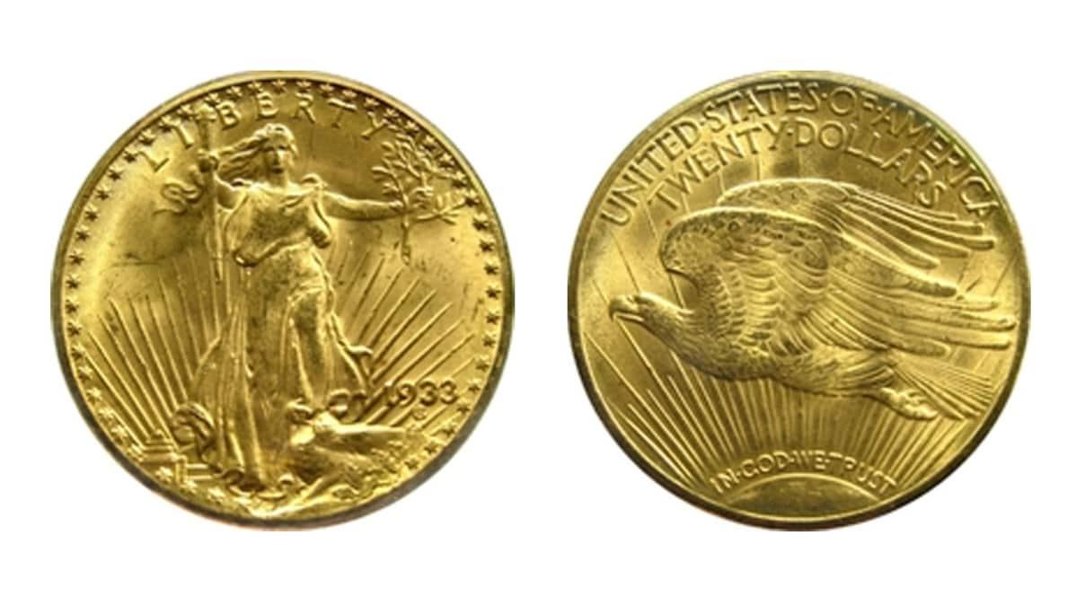 Maailman kallein kultaraha Double Eagle edestä ja takaa.