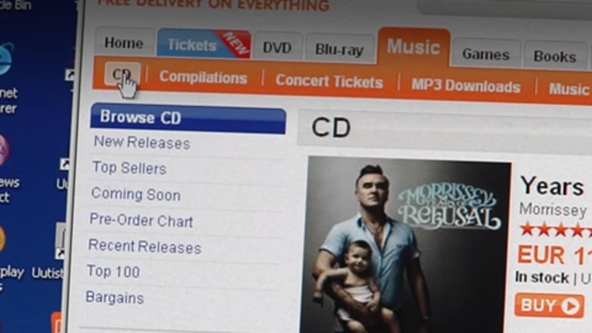 Levyjen ostoa internetissä.