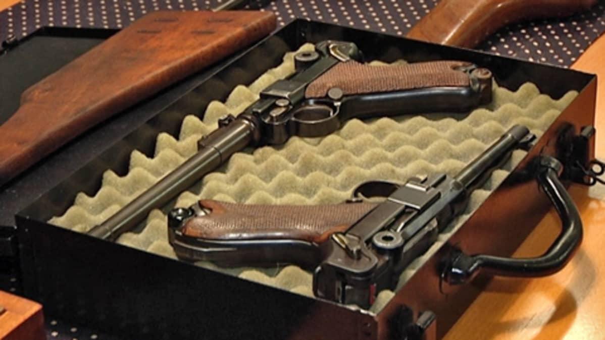 Kaksi pistoolia niille tarkoitetussa kantolaukussa.