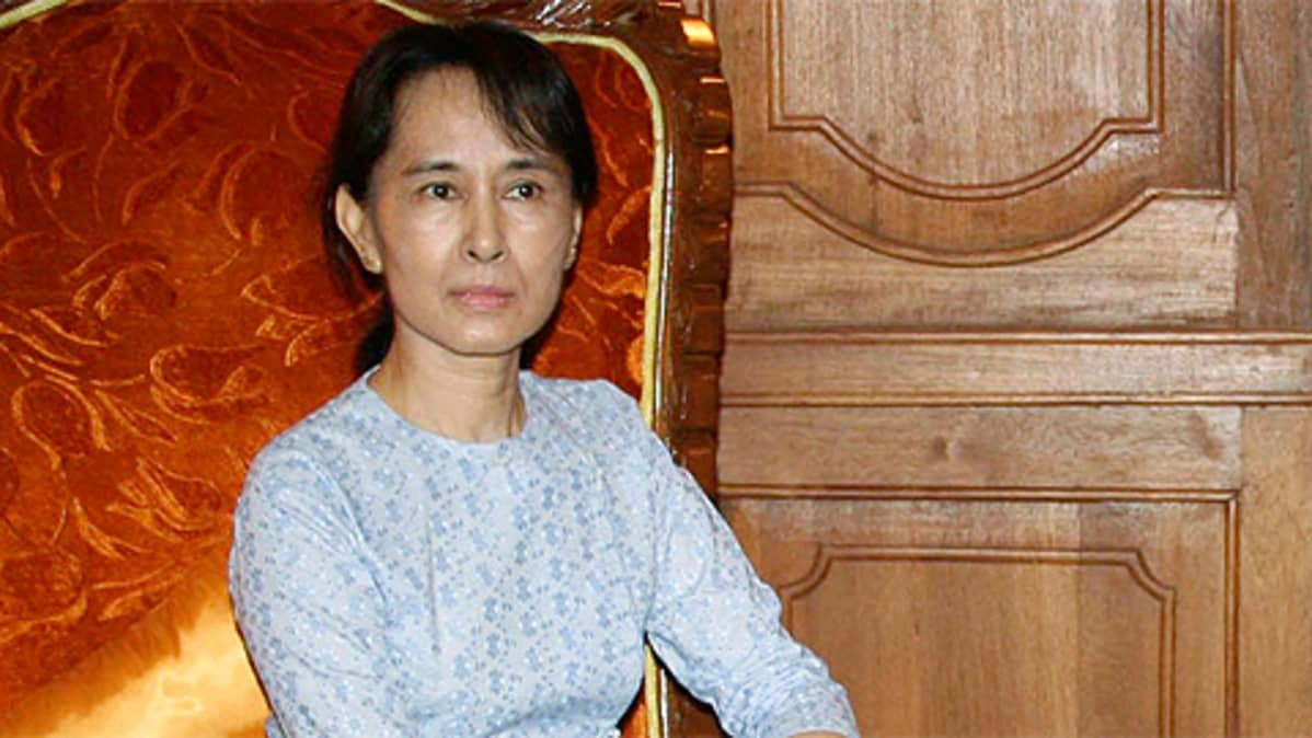 Myanmarin oppositiojohtaja Aung San Suu Kyi.