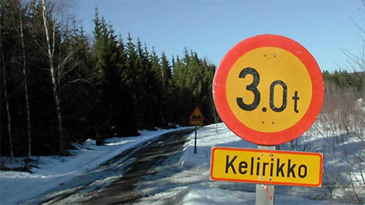 Kuvassa kelirikosta kertova liikennemerkki , taustalla kuopasta kertova merkki.