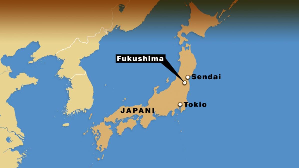 Kartalla Fukushiman sijainti Japanissa. Se on lähellä Sendaita, joka kärsi pahoin tsunamista perjantaina.