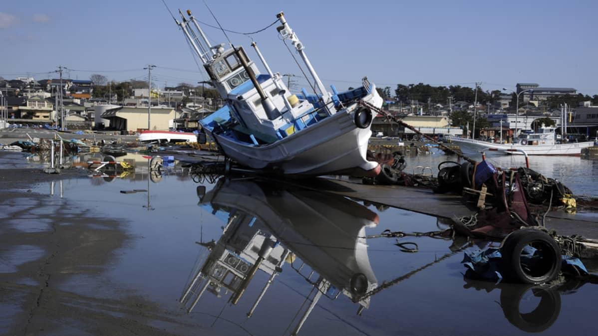 Kuivalle maalle rantautunut kalastusalus Oarain satamassa.