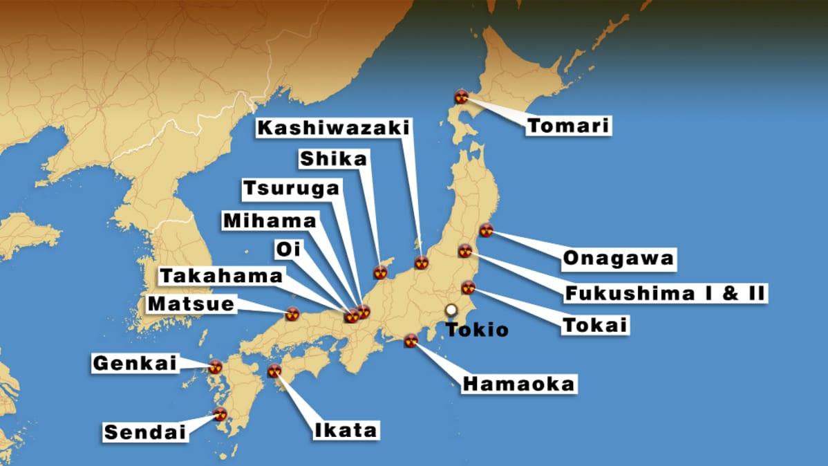 Kartta Japanin ydinvoimaloista.