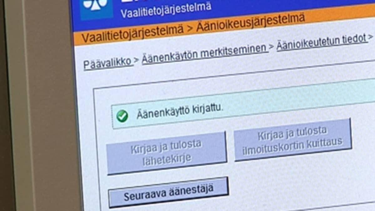 Kuvassa on tietokoneen näyttö, jossa näkyy vaalitietojärjestelmä.