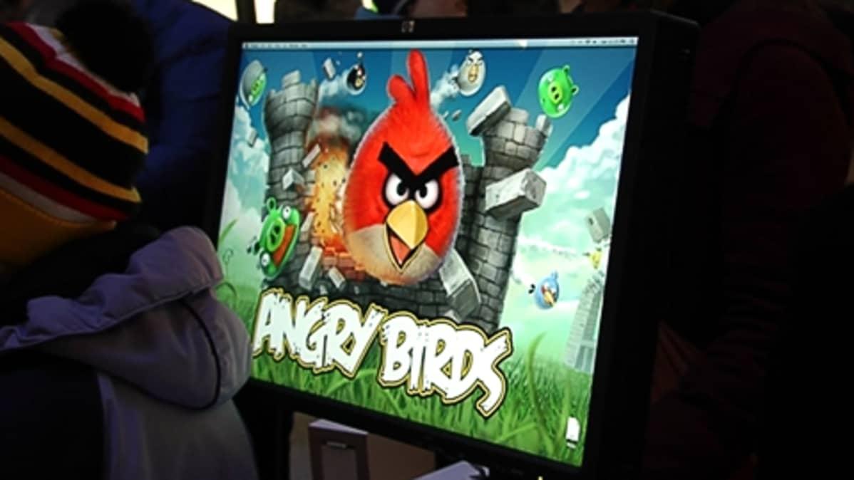 Angry Birds tietokoneen näytöllä