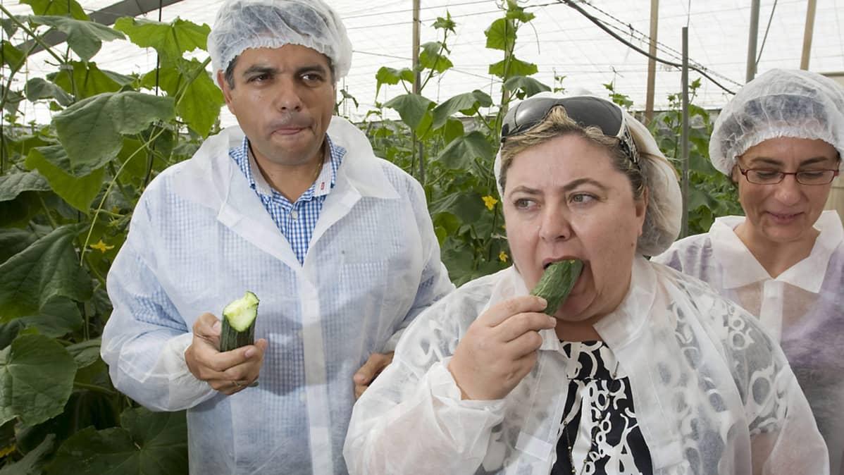 Espanjan maatalousministeri maistaa kurkkua viljelijät ympärillään.