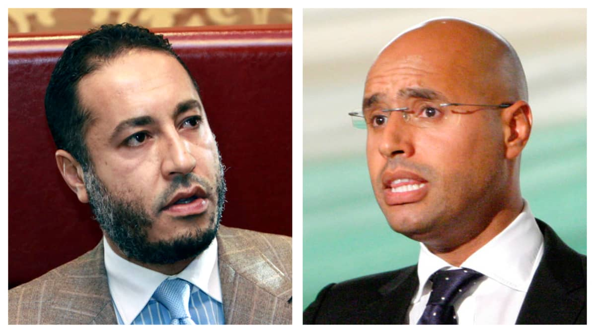 Muammar Gaddafin pojat Al-Saadi ja Saif al-Islam Gaddafi.