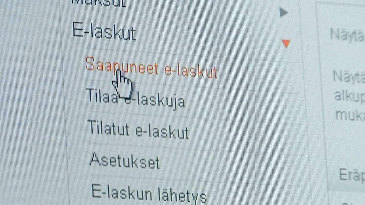 Linkki e-laskun sivulle verkkopankissa
