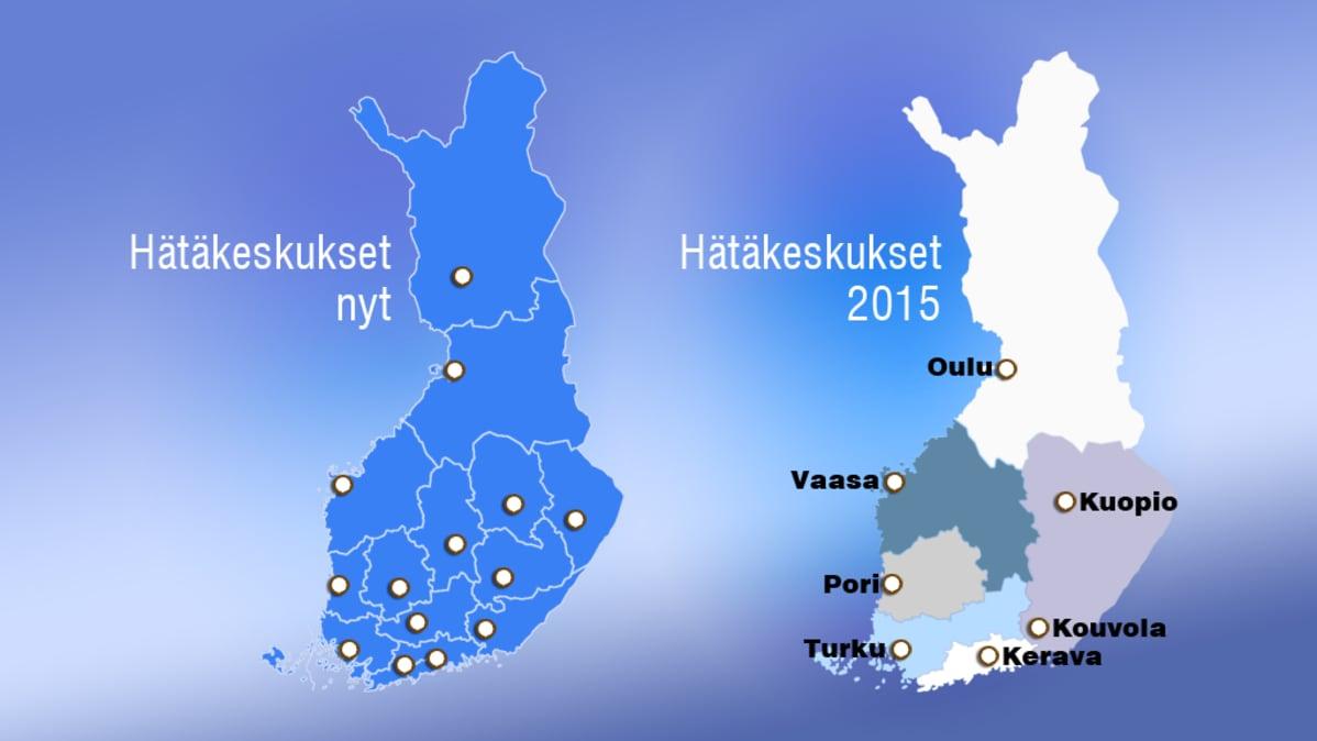 Kartta hätäkeskusten sijainneista nyt ja vuonna 2015
