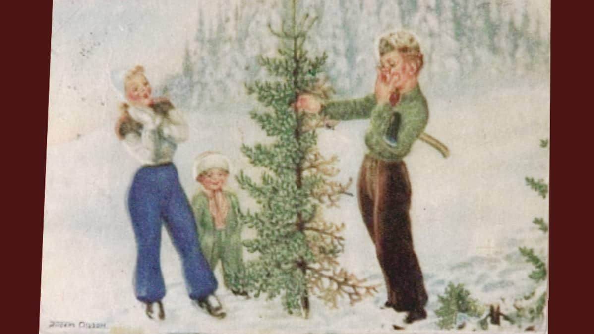 Kuvassa vanha joulukortti.