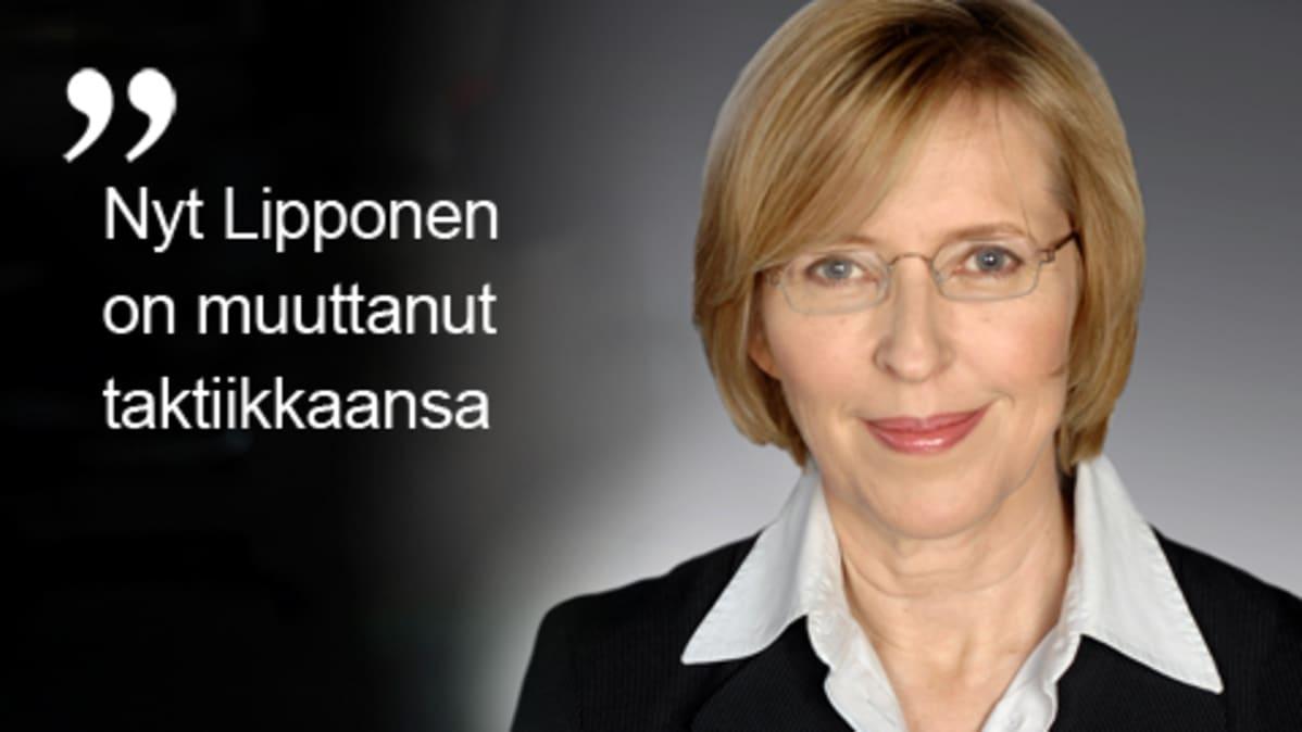 """""""Nyt Lipponen on muuttanut taktiikkaansa"""". Kuvassa Yleisradion uutisten politiikan toimituksen päällikkö Riikka Uosukainen."""