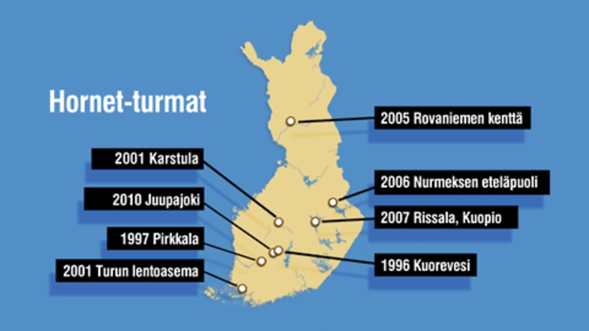 Kartta onnettomuuspaikoista