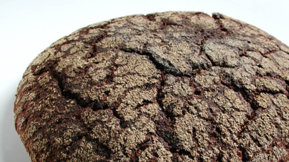Lähikuva ruisleivästä ja sen halkeilleesta kuoresta.