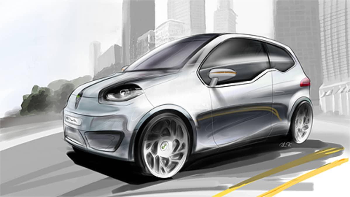 Piirros Valmet Automotiven suunnittelemasta Eva-konseptiautosta.
