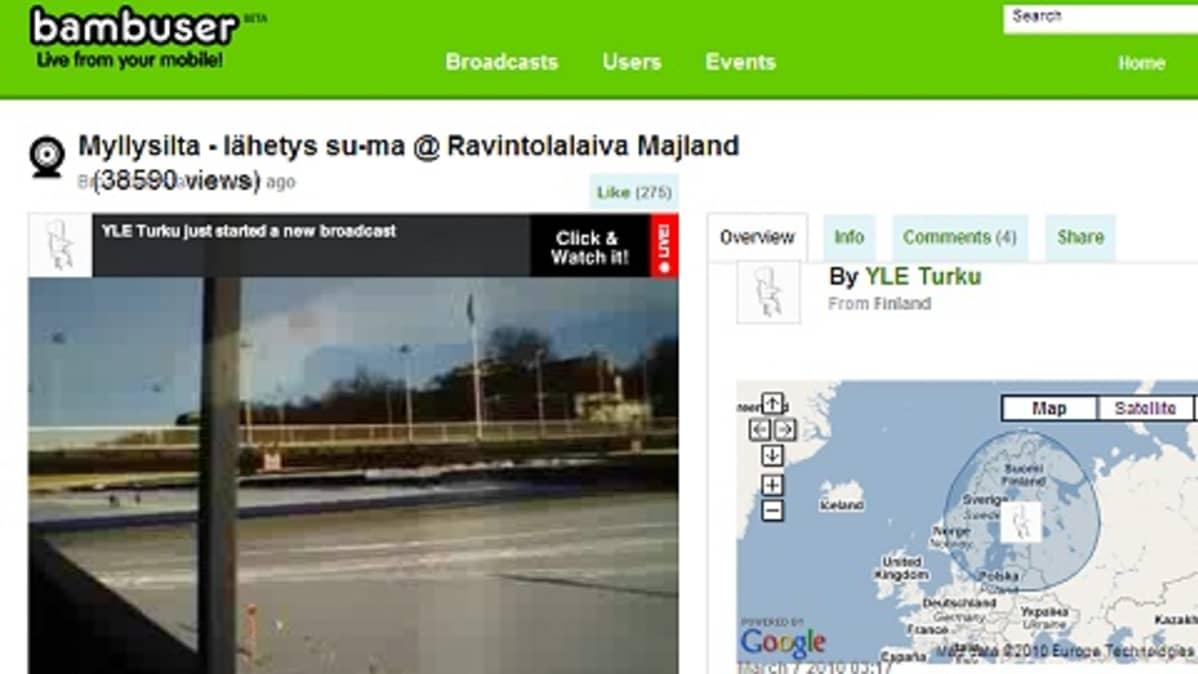 YLE Turku välittää suoraa kuvaa notkahtaneesta Myllysillasta Bambuser-sivustollaan.
