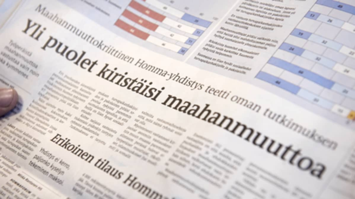 Homma-yhdistyksen tutkimus Helsingin Sanomissa
