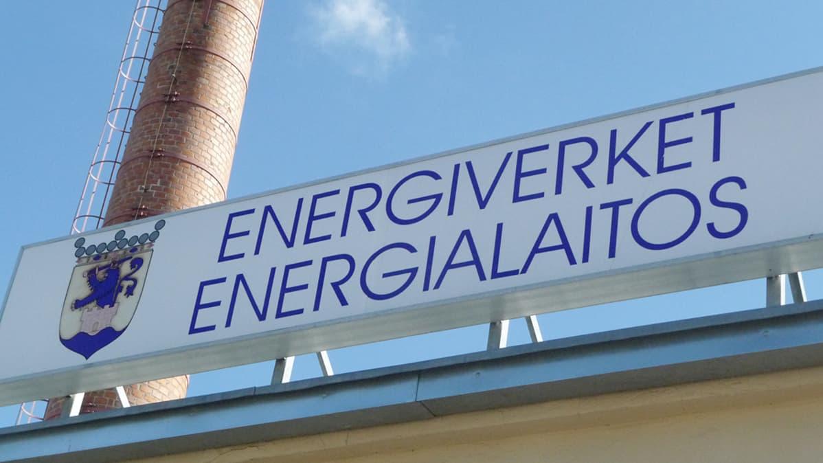 Pietarsaaren energialaitoksen kyltti