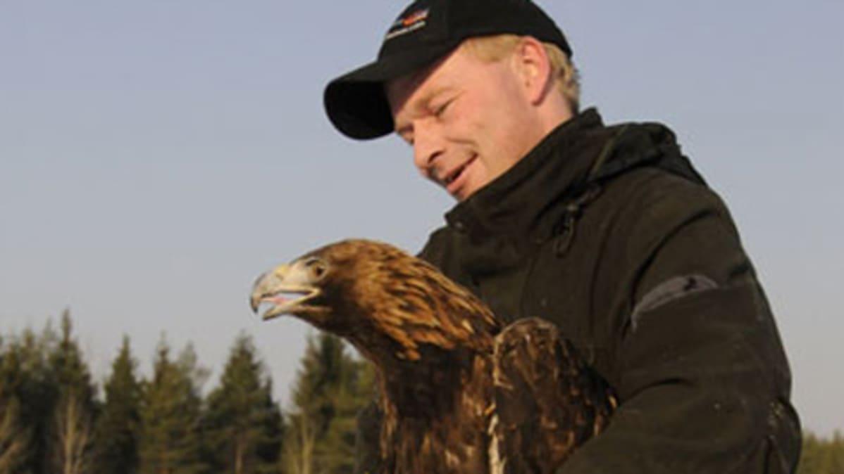 Maakotka Heinolan lintutarhan Juha Hartikaisen sylissä.