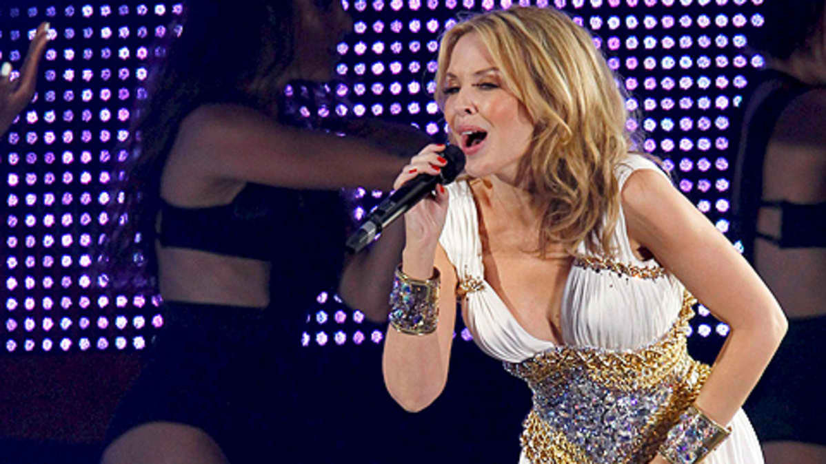 Kylie Minogue esiintymässä Madridissa Espanjassa 3. heinäkuuta 2010.