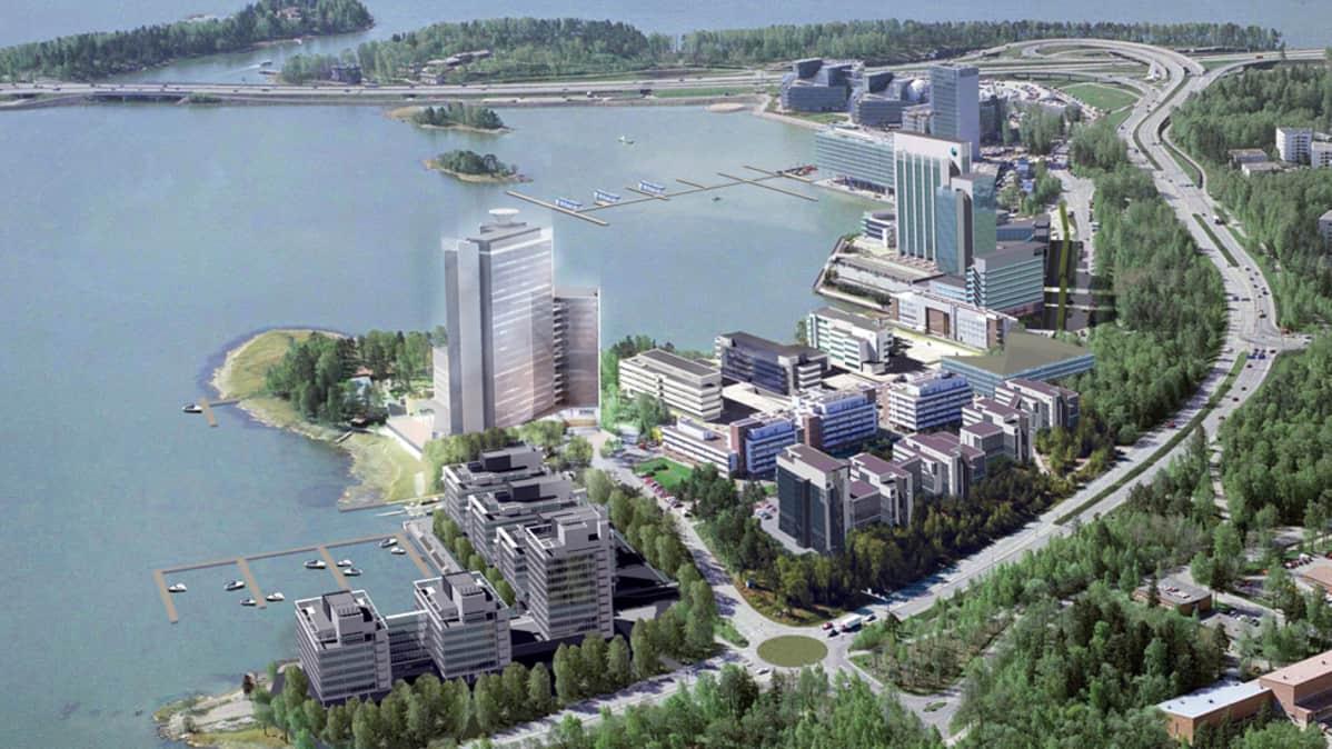 Havainnekuva Espoon Keilaniemeen nousevasta Suomen korkeimmasta toimistotalosta.