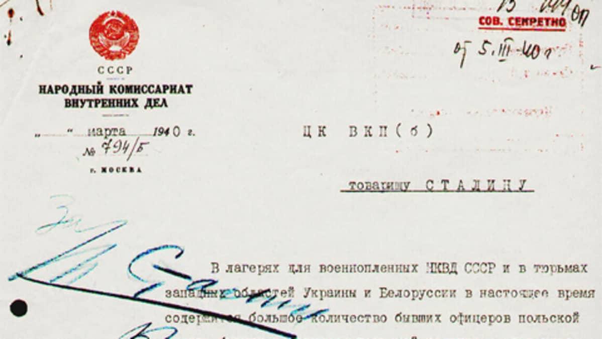 Asiakirja, jossa Stalinin allekirjoitus
