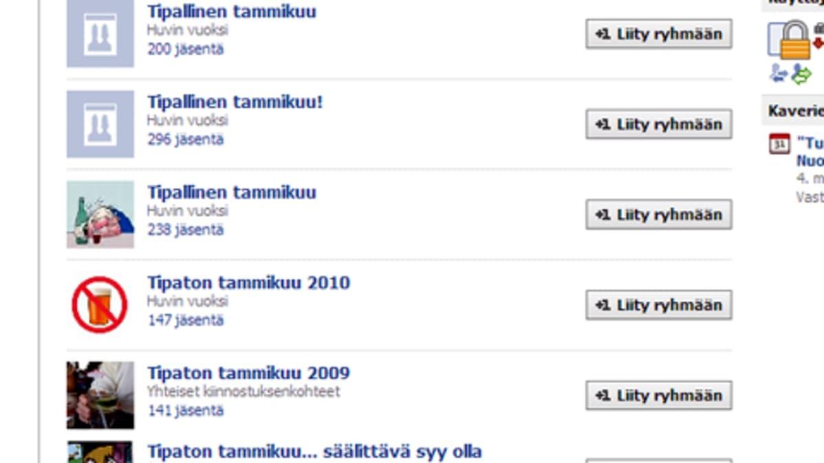 Facebook tulvii tammikuu-aiheisia ryhmiä.