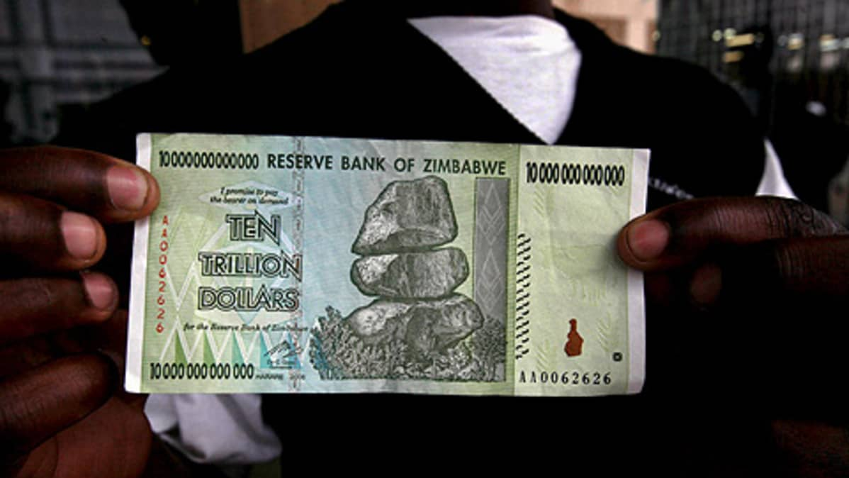 10 biljoonan Zimbabwen dollarin seteli