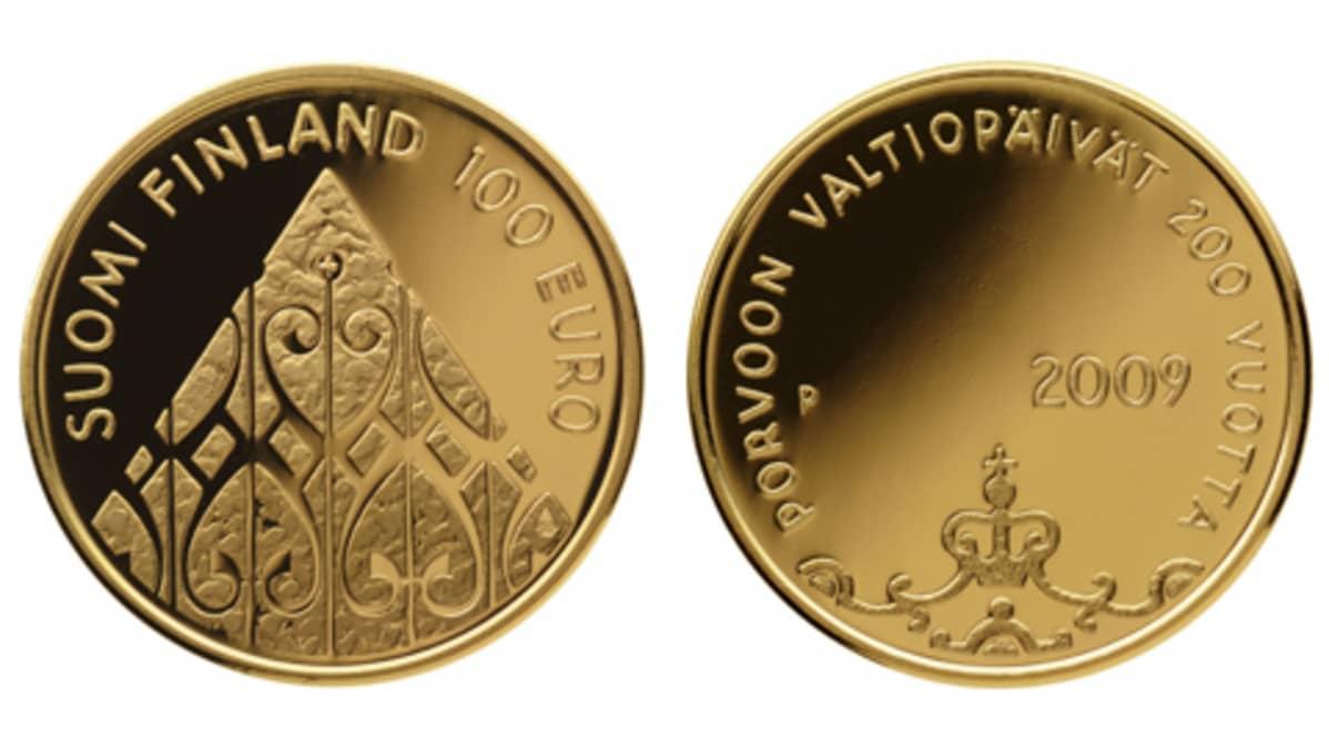 Porvoon valtiopäivien 200-vuotisjuhlan kunniaksi lyöty kultaraha