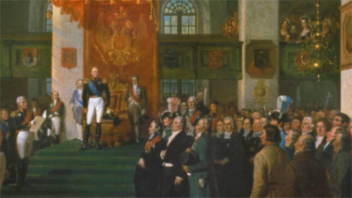 Keisari Aleksanteri ensimmäinen  seisoo säätyjen edessä Porvoossa 1809.