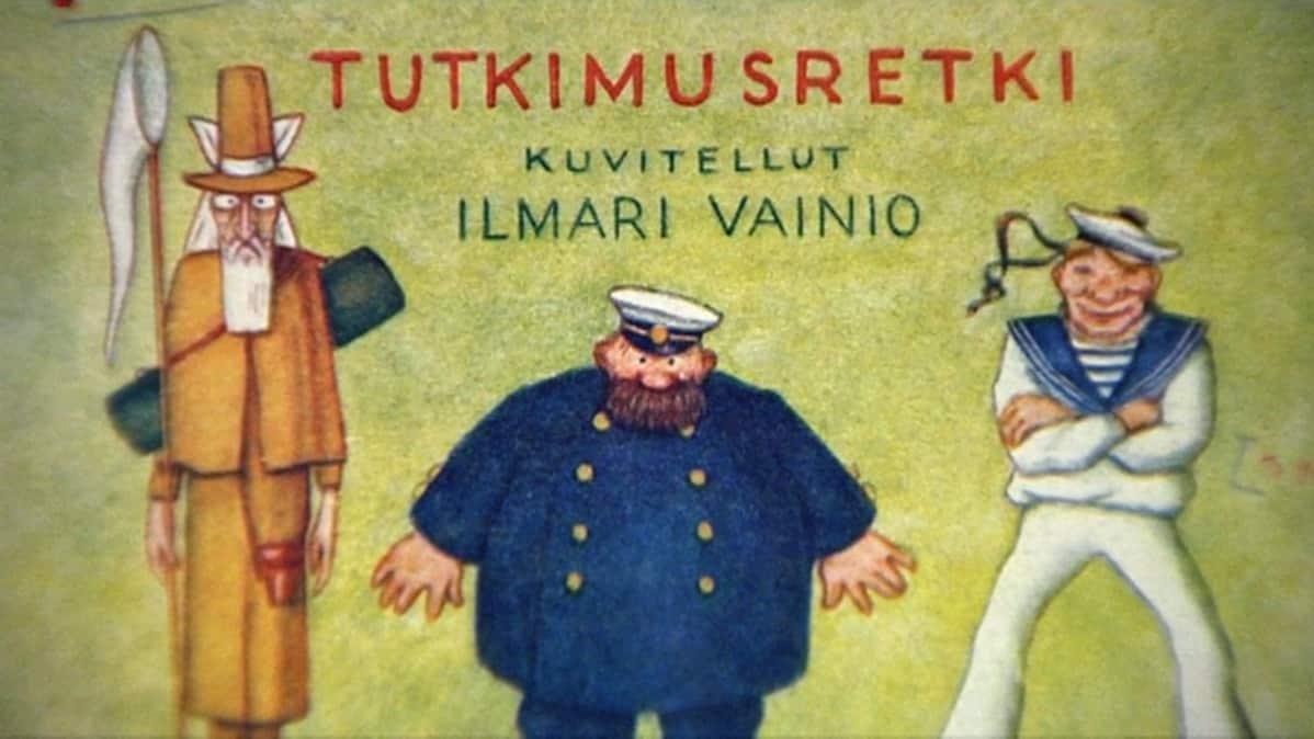 Lähikuva Ilmari Vainion Professori Itikaisen tutkimusretki -sarjakuvan kannesta.