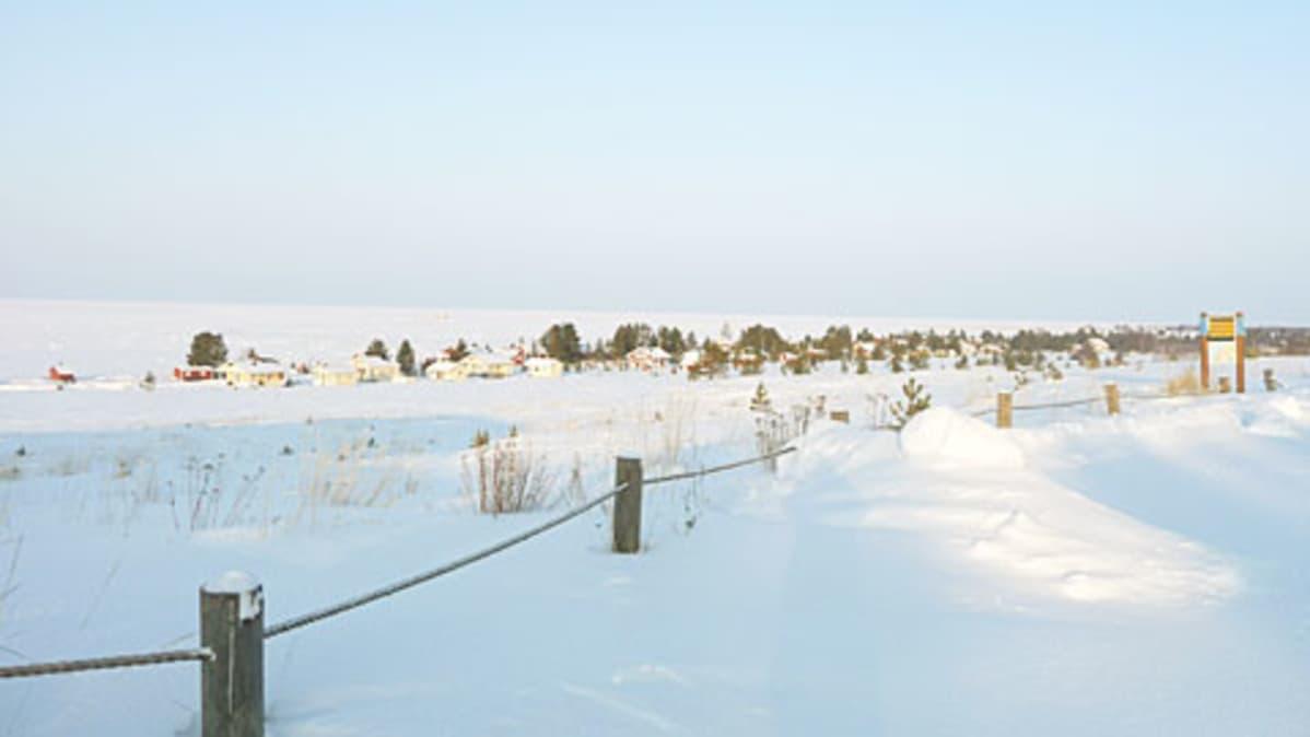 Kuvassa lumimaisema Kalajoen Hiekkasärkiltä