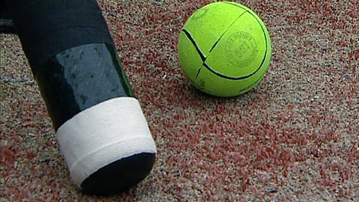 Pesäpallomaila ja -pallo.