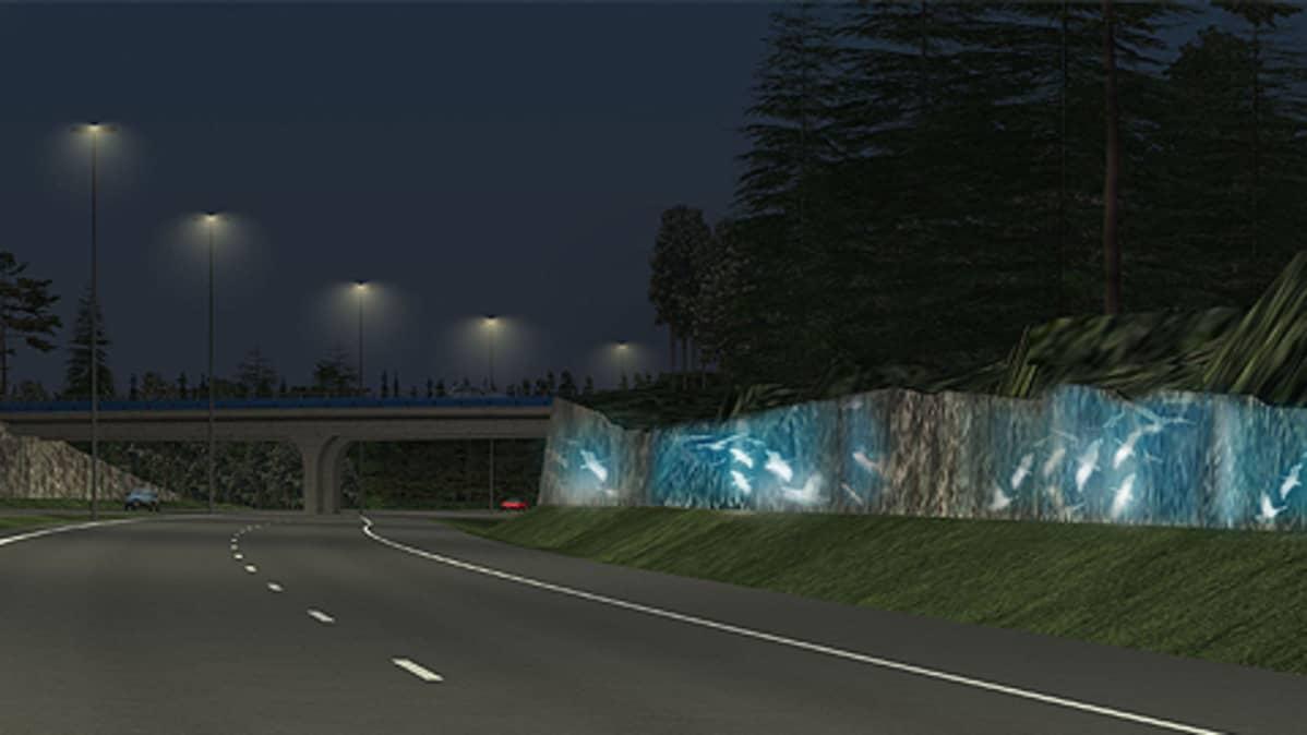 Havainnekuva mahdollisesta valotaiteesta E18-moottoritiellä.