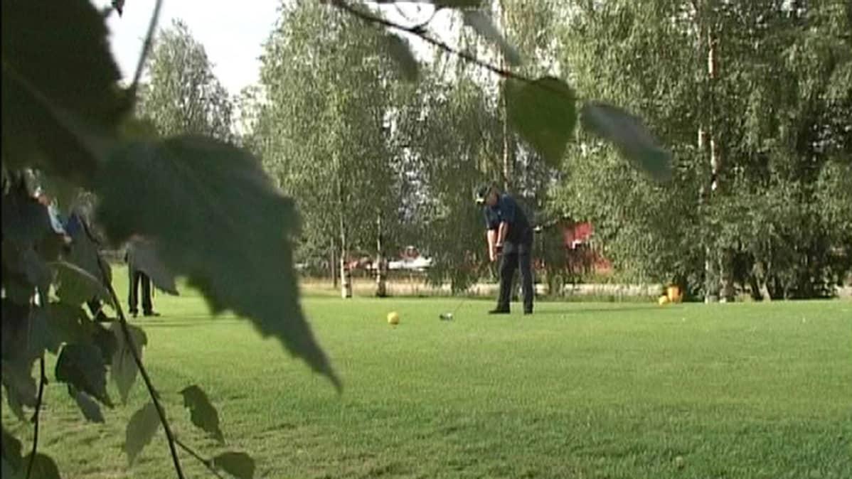 Laukaan Peurunka Golf. Pelaajia kesäisellä kentällä.