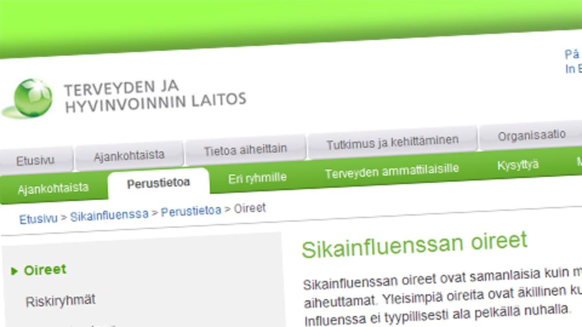 Sikainfluenssaa käsittelevä tietopaketti terveyden ja hyvinvoinnin laitoksen nettisivuilla.