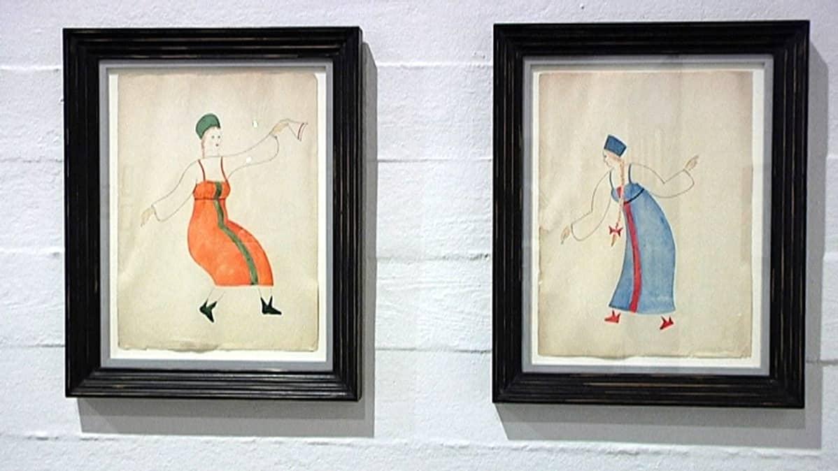Kaksi Vladimir Tatlinin maalausta venäläisiin kansallispukuihin pukeutuneista tanssivista naisista.