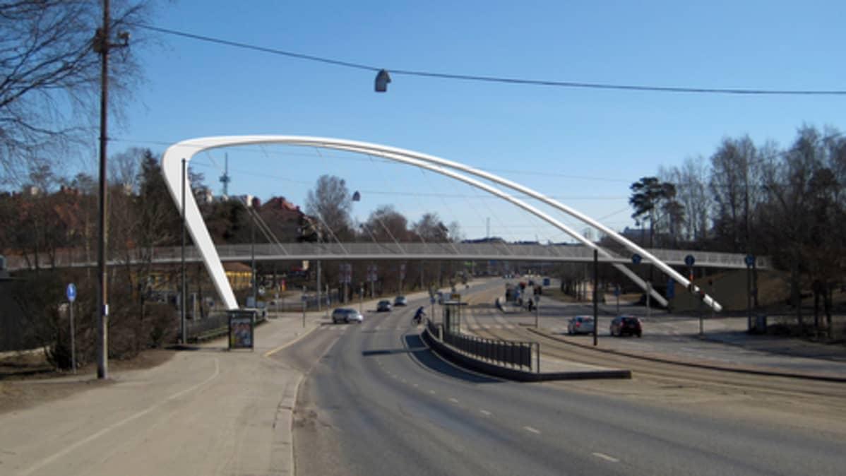 Havainnekuva Nordenskiöldinkadun tulevasta kevyen liikenteen sillasta.