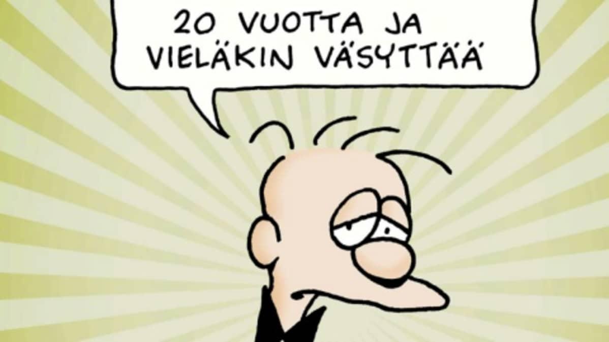 Niin kotona kuin töissäkin kaltoinkohdellun B. Virtasen piirtäjä Ilkka Heilä palkittiin Aurora-mitalilla.