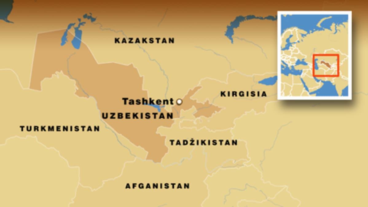 Uzbekistanin ja lähivaltioiden kartta.