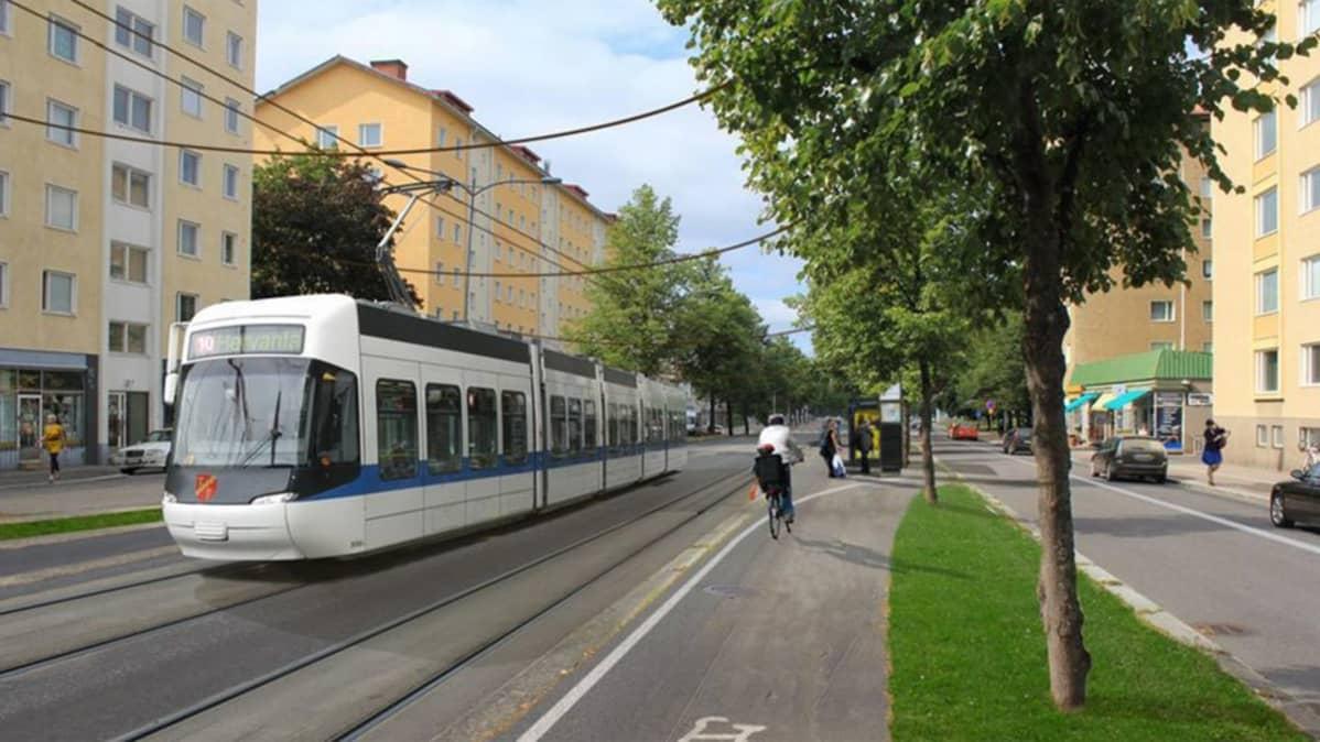 Havainnekuva raitiovaunusta Tampereen Kalevassa