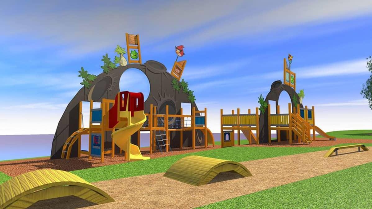 Havainnekuva Konttisenpuiston Angry Birds -puistosta